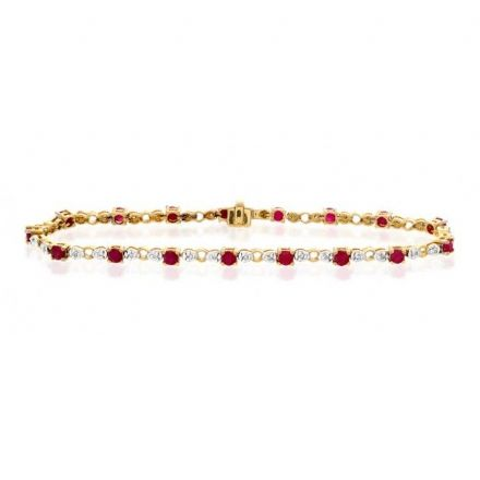 9K Gold 0.17ct Diamond & Ruby Bracelet, G1375